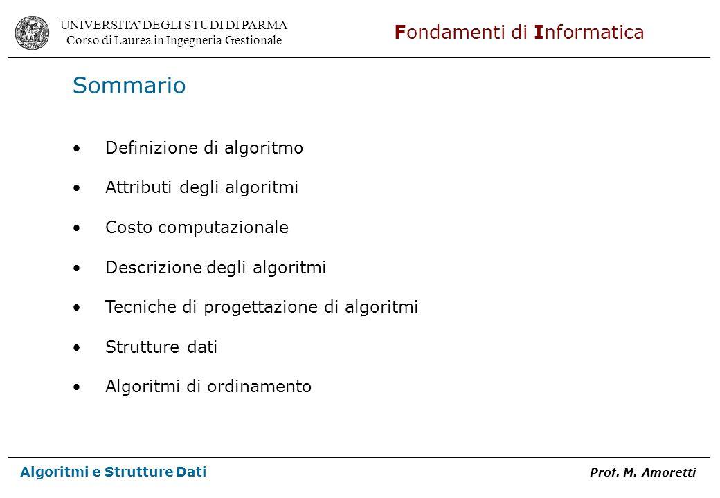 UNIVERSITA DEGLI STUDI DI PARMA Corso di Laurea in Ingegneria Gestionale Fondamenti di Informatica Algoritmi e Strutture Dati Prof. M. Amoretti Sommar