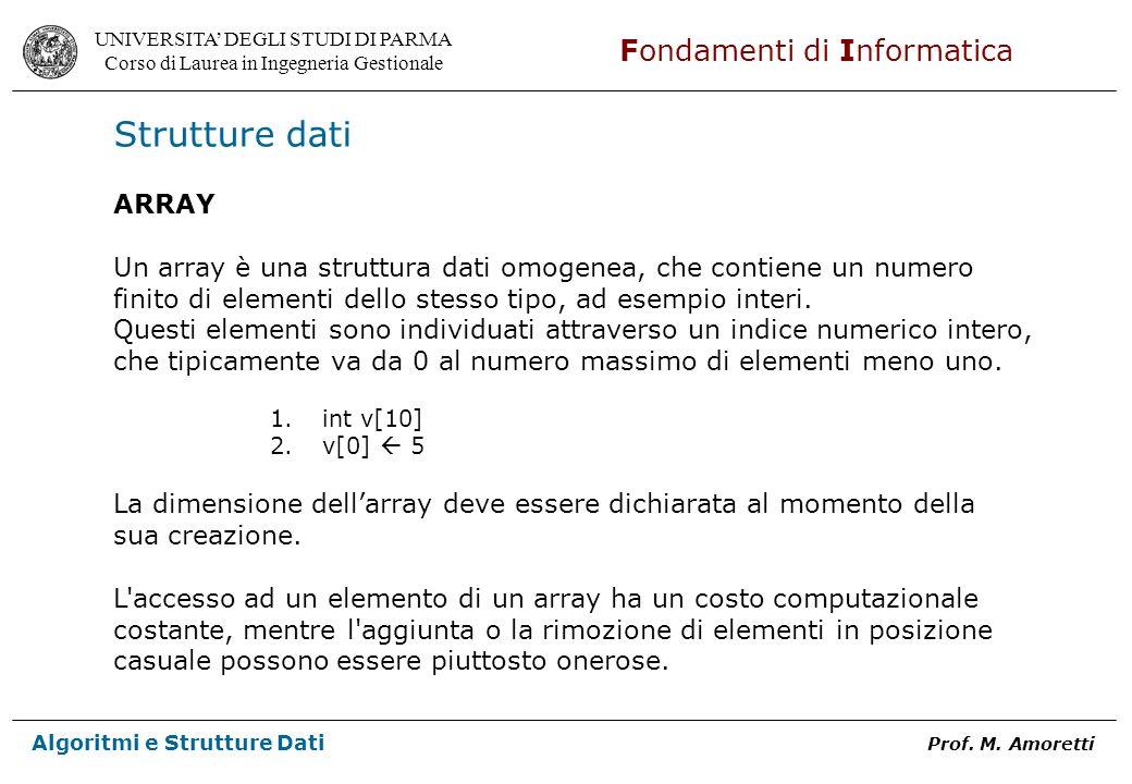 UNIVERSITA DEGLI STUDI DI PARMA Corso di Laurea in Ingegneria Gestionale Fondamenti di Informatica Algoritmi e Strutture Dati Prof. M. Amoretti Strutt
