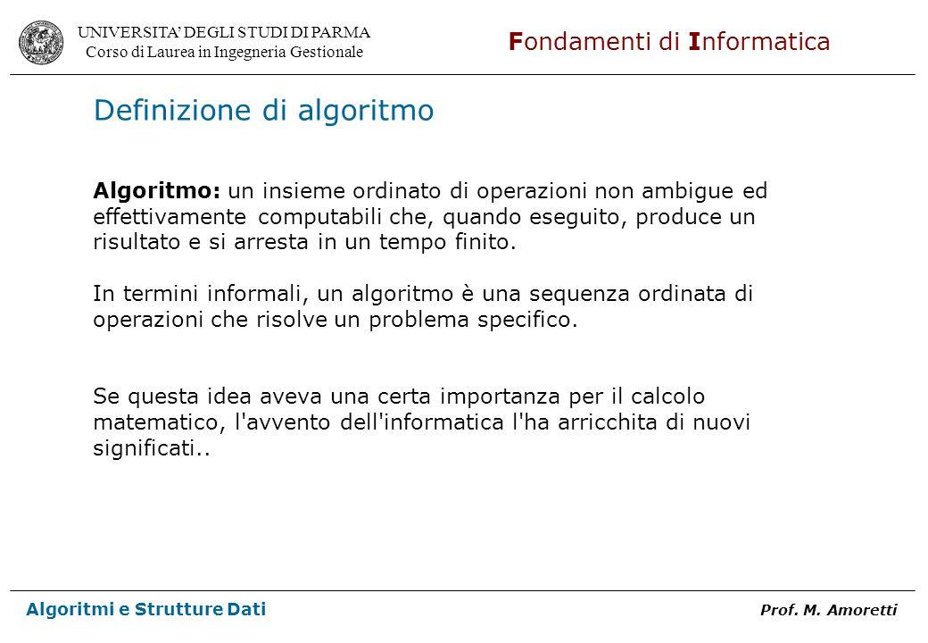 UNIVERSITA DEGLI STUDI DI PARMA Corso di Laurea in Ingegneria Gestionale Fondamenti di Informatica Algoritmi e Strutture Dati Prof. M. Amoretti Defini
