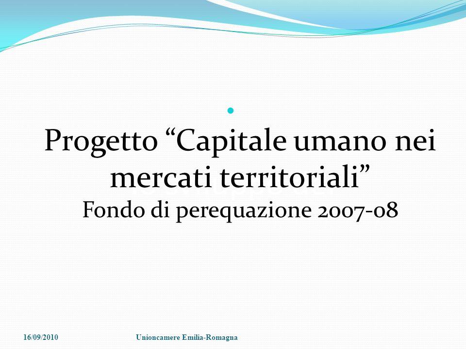 lo sviluppo del Progetto Capitale umano nei mercati territoriali Fondo di perequazione 2007-08 16/09/2010Unioncamere Emilia-Romagna