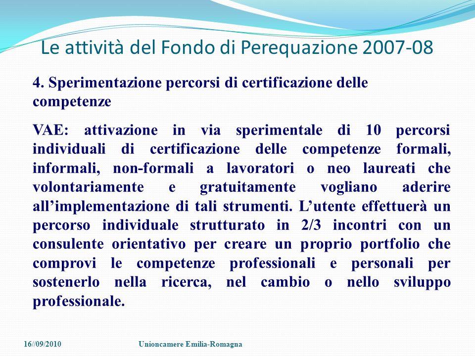Le attività del Fondo di Perequazione 2007-08 4. Sperimentazione percorsi di certificazione delle competenze VAE: attivazione in via sperimentale di 1