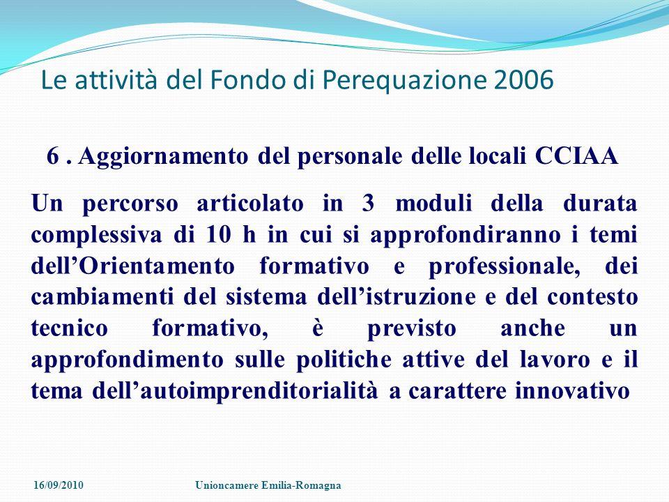 Le attività del Fondo di Perequazione 2006 6. Aggiornamento del personale delle locali CCIAA Un percorso articolato in 3 moduli della durata complessi