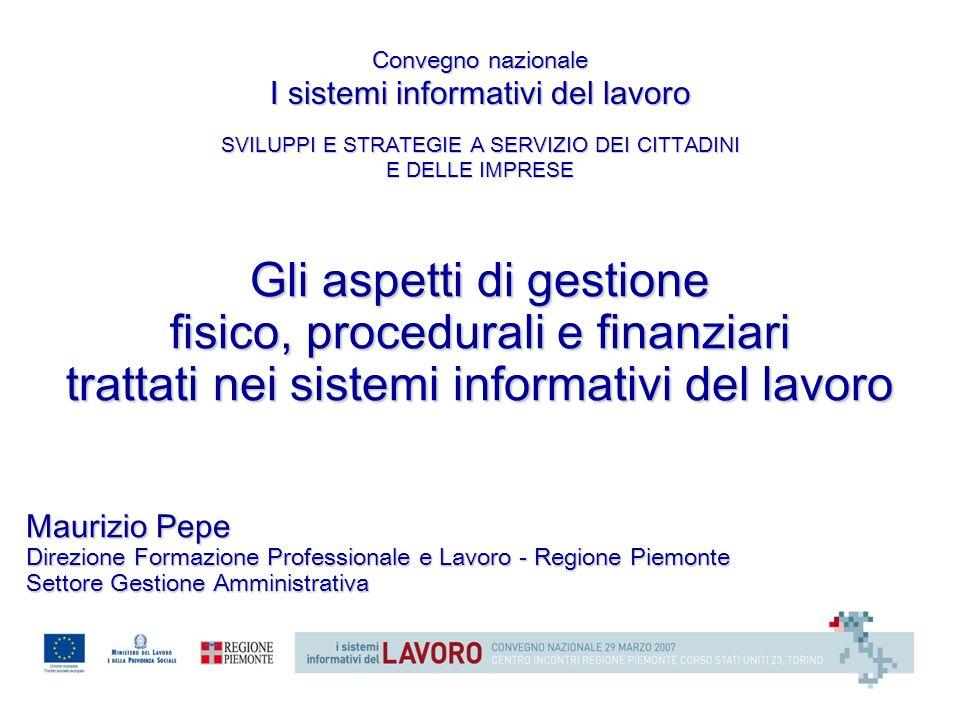 Gli aspetti di gestione fisico, procedurali e finanziari trattati nei sistemi informativi del lavoro Maurizio Pepe Direzione Formazione Professionale