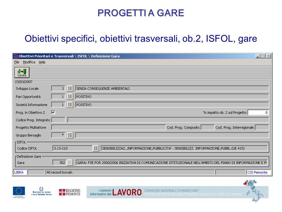 Obiettivi specifici, obiettivi trasversali, ob.2, ISFOL, gare PROGETTI A GARE