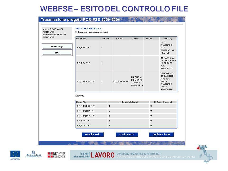 WEBFSE – ESITO DEL CONTROLLO FILE