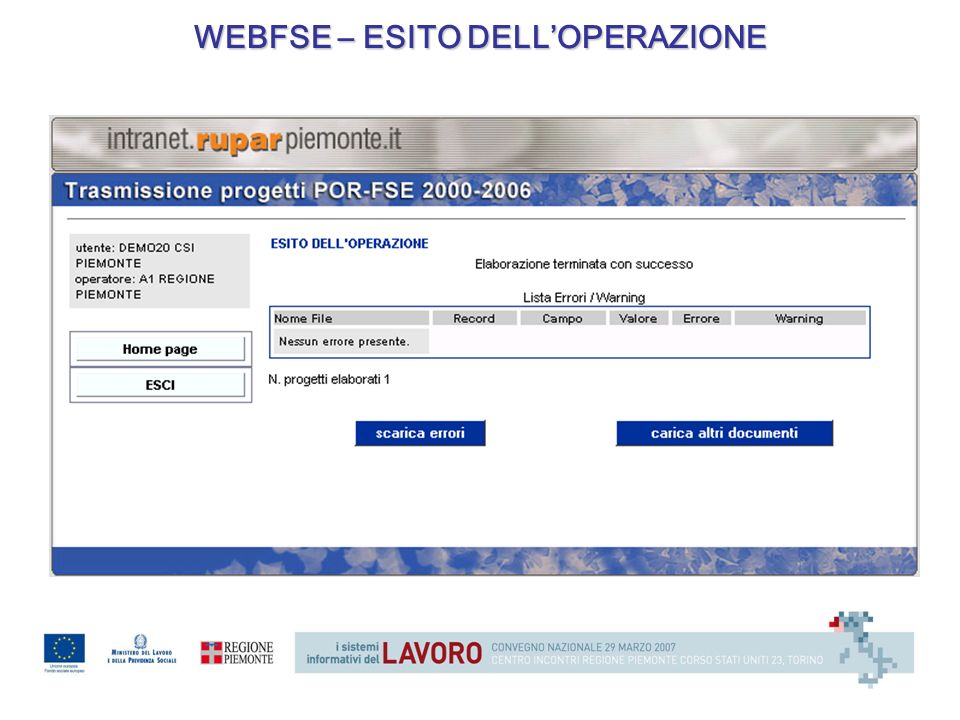 WEBFSE – ESITO DELLOPERAZIONE