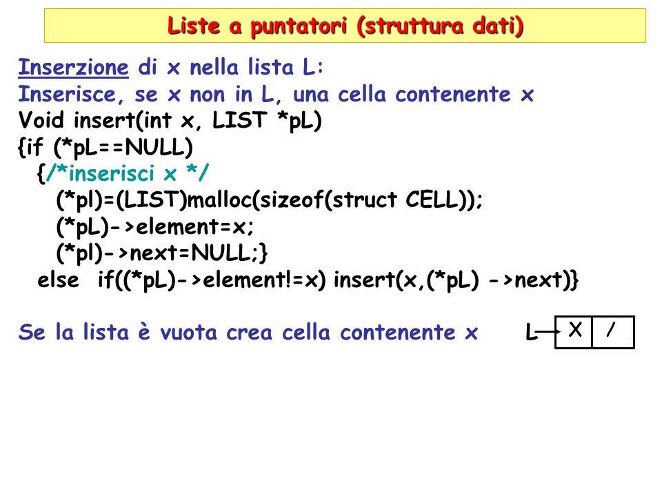 Liste a puntatori (struttura dati) Inserzione di x nella lista L: Inserisce, se x non in L, una cella contenente x Void insert(int x, LIST *pL) {if (*