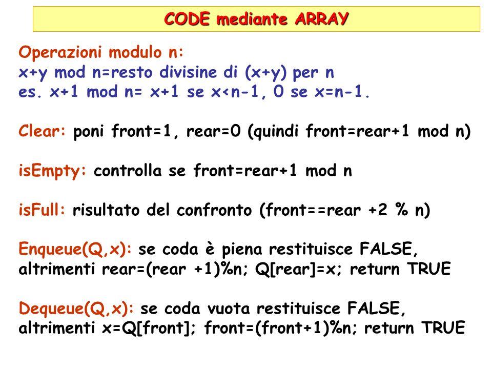 CODE mediante ARRAY Operazioni modulo n: x+y mod n=resto divisine di (x+y) per n es. x+1 mod n= x+1 se x<n-1, 0 se x=n-1. Clear: poni front=1, rear=0
