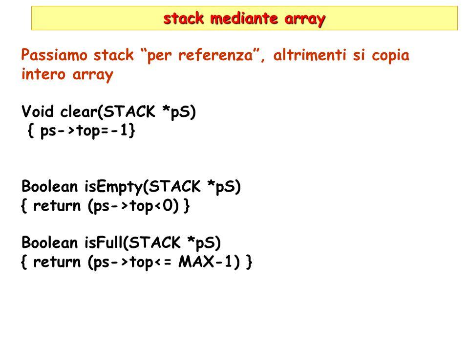stack mediante array Passiamo stack per referenza, altrimenti si copia intero array Void clear(STACK *pS) { ps->top=-1} Boolean isEmpty(STACK *pS) { r