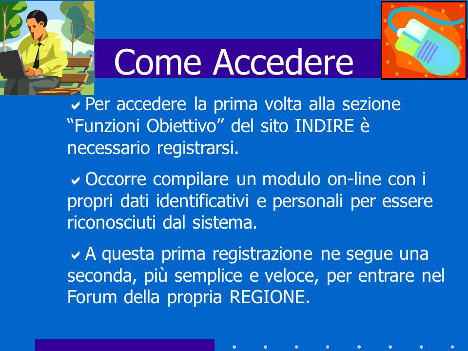 Come Accedere Per accedere la prima volta alla sezione Funzioni Obiettivo del sito INDIRE è necessario registrarsi.