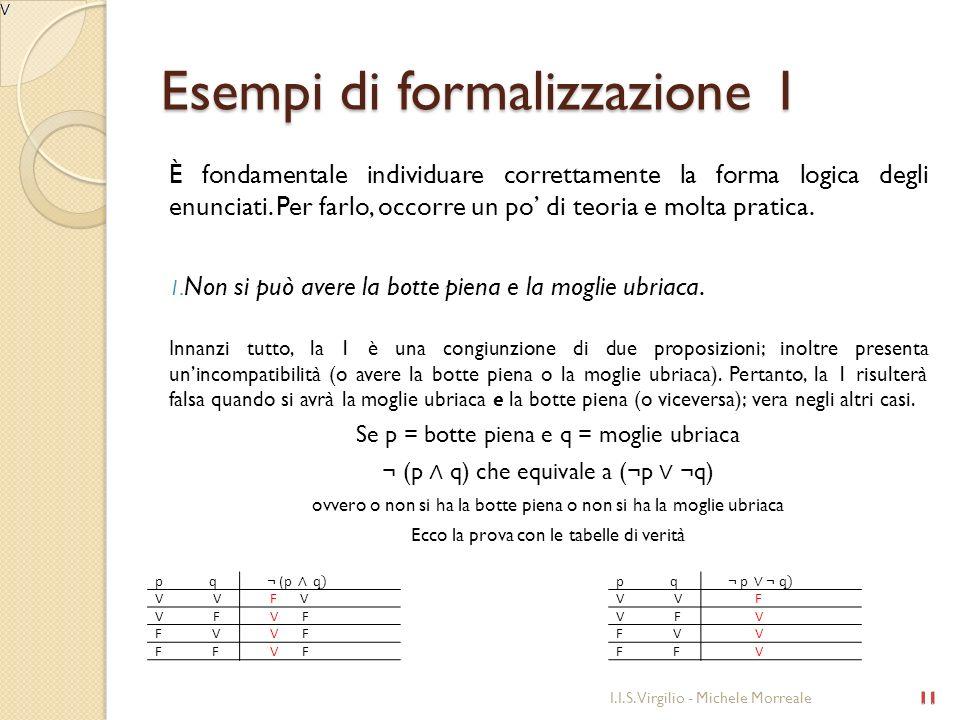 Esempi di formalizzazione 1 È fondamentale individuare correttamente la forma logica degli enunciati. Per farlo, occorre un po di teoria e molta prati