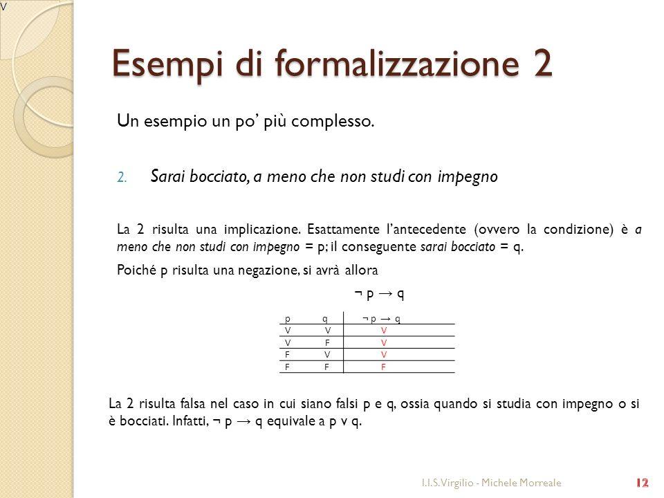 Esempi di formalizzazione 2 Un esempio un po più complesso. 2. Sarai bocciato, a meno che non studi con impegno La 2 risulta una implicazione. Esattam