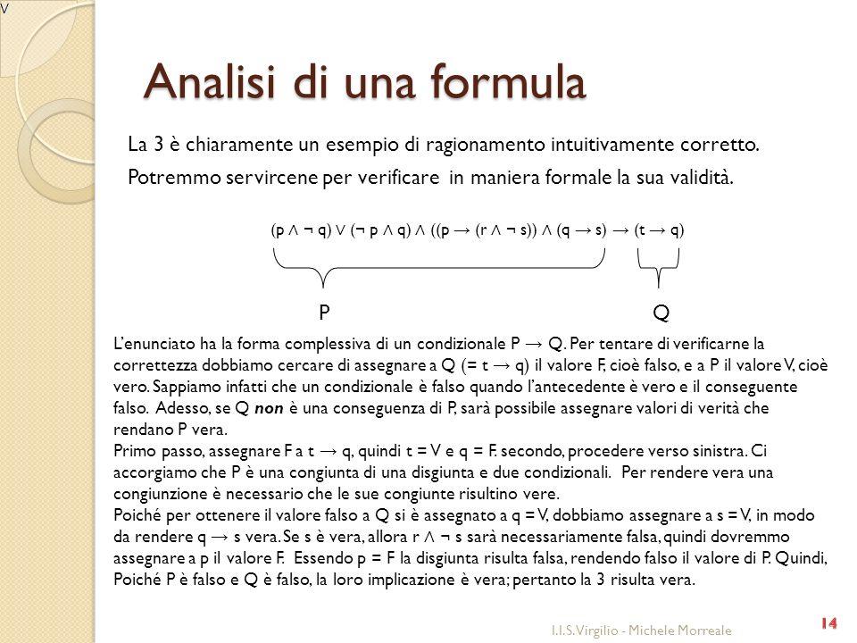 Analisi di una formula La 3 è chiaramente un esempio di ragionamento intuitivamente corretto. Potremmo servircene per verificare in maniera formale la
