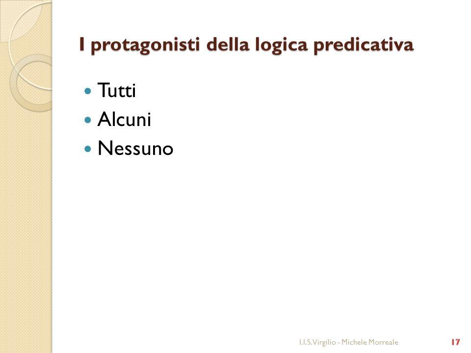 I protagonisti della logica predicativa Tutti Alcuni Nessuno I.I.S. Virgilio - Michele Morreale