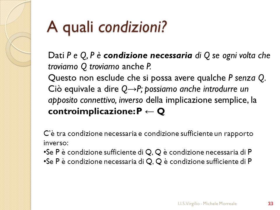 A quali condizioni? I.I.S. Virgilio - Michele Morreale Dati P e Q, P è condizione necessaria di Q se ogni volta che troviamo Q troviamo anche P. Quest