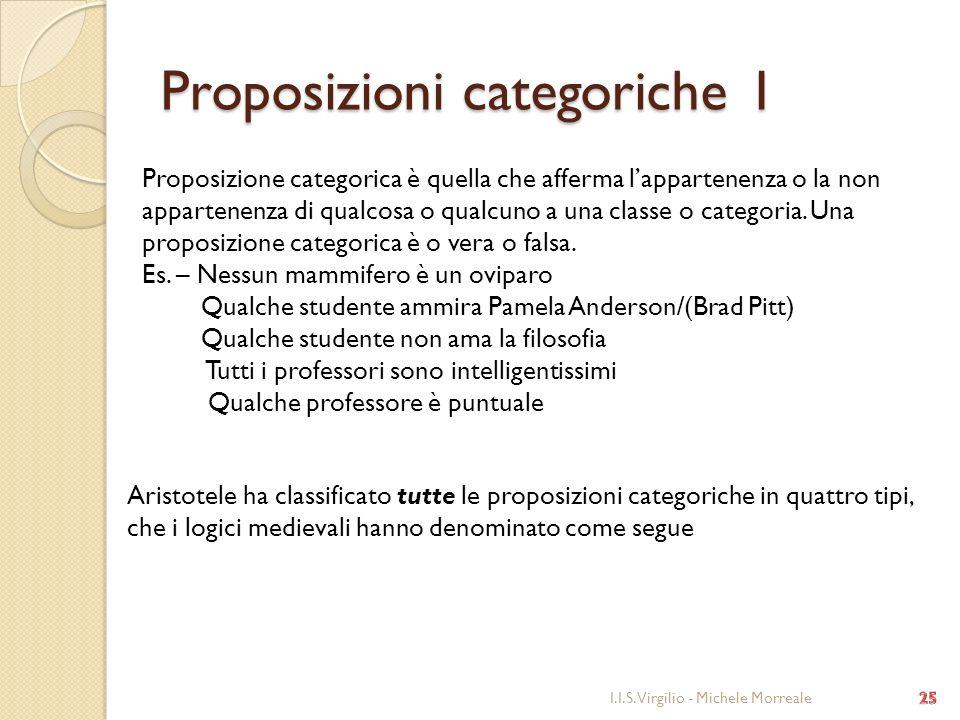 Proposizioni categoriche 1 I.I.S. Virgilio - Michele Morreale Proposizione categorica è quella che afferma lappartenenza o la non appartenenza di qual