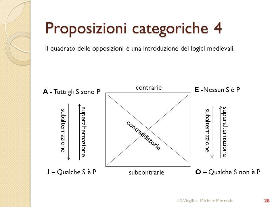 Proposizioni categoriche 4 I.I.S. Virgilio - Michele Morreale A - Tutti gli S sono P E -Nessun S è P I – Qualche S è PO – Qualche S non è P Il quadrat