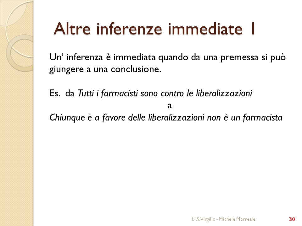 Altre inferenze immediate 1 Altre inferenze immediate 1 I.I.S. Virgilio - Michele Morreale Un inferenza è immediata quando da una premessa si può giun