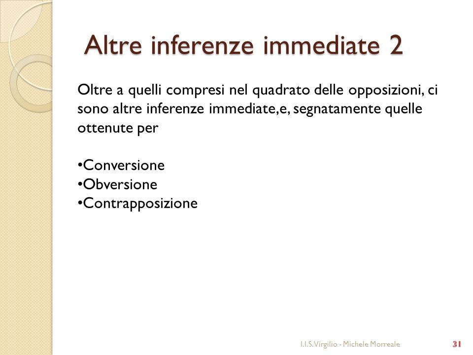Altre inferenze immediate 2 Altre inferenze immediate 2 I.I.S. Virgilio - Michele Morreale Oltre a quelli compresi nel quadrato delle opposizioni, ci