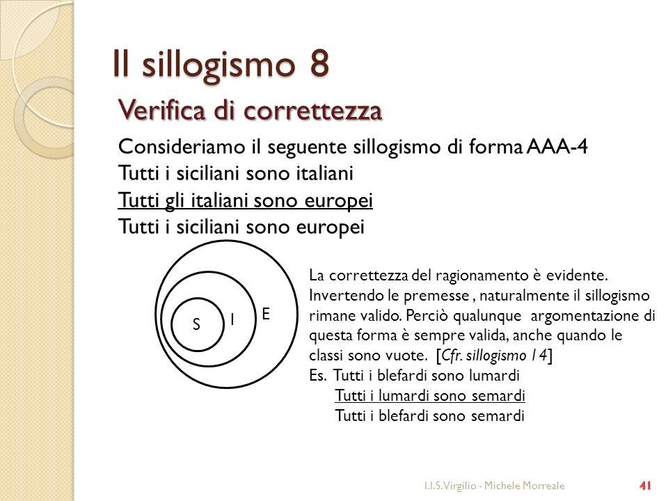 Il sillogismo 8 Verifica di correttezza Consideriamo il seguente sillogismo di forma AAA-4 Tutti i siciliani sono italiani Tutti gli italiani sono eur