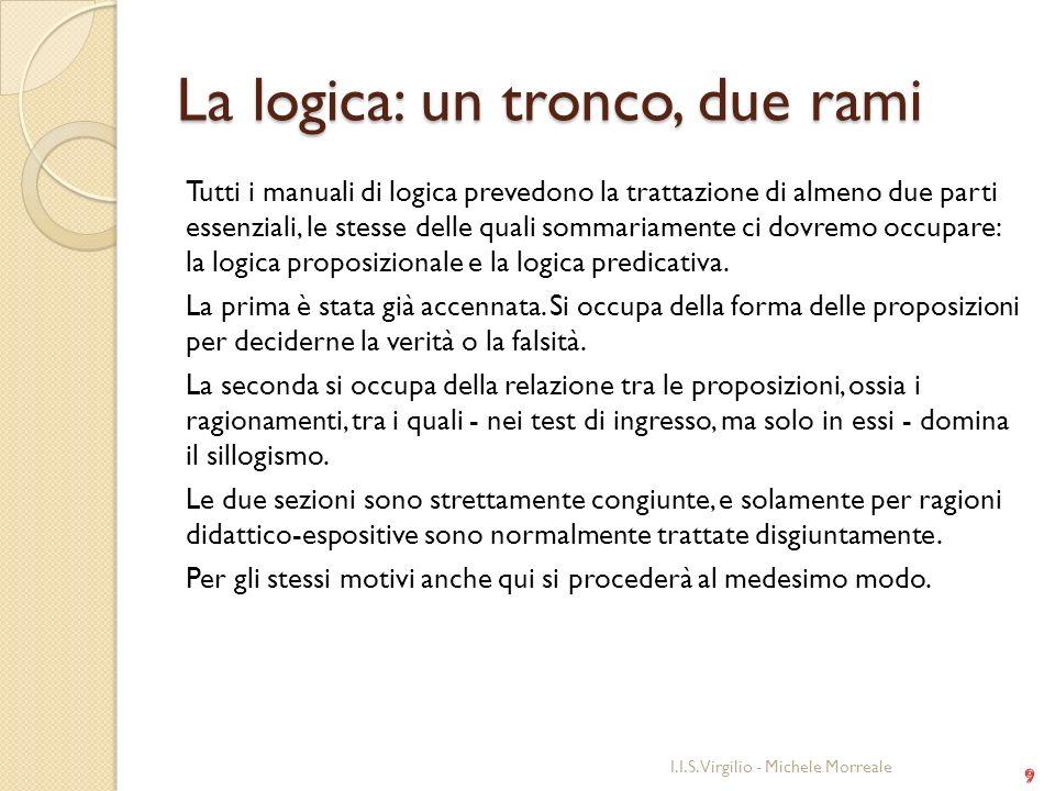 La logica: un tronco, due rami Tutti i manuali di logica prevedono la trattazione di almeno due parti essenziali, le stesse delle quali sommariamente