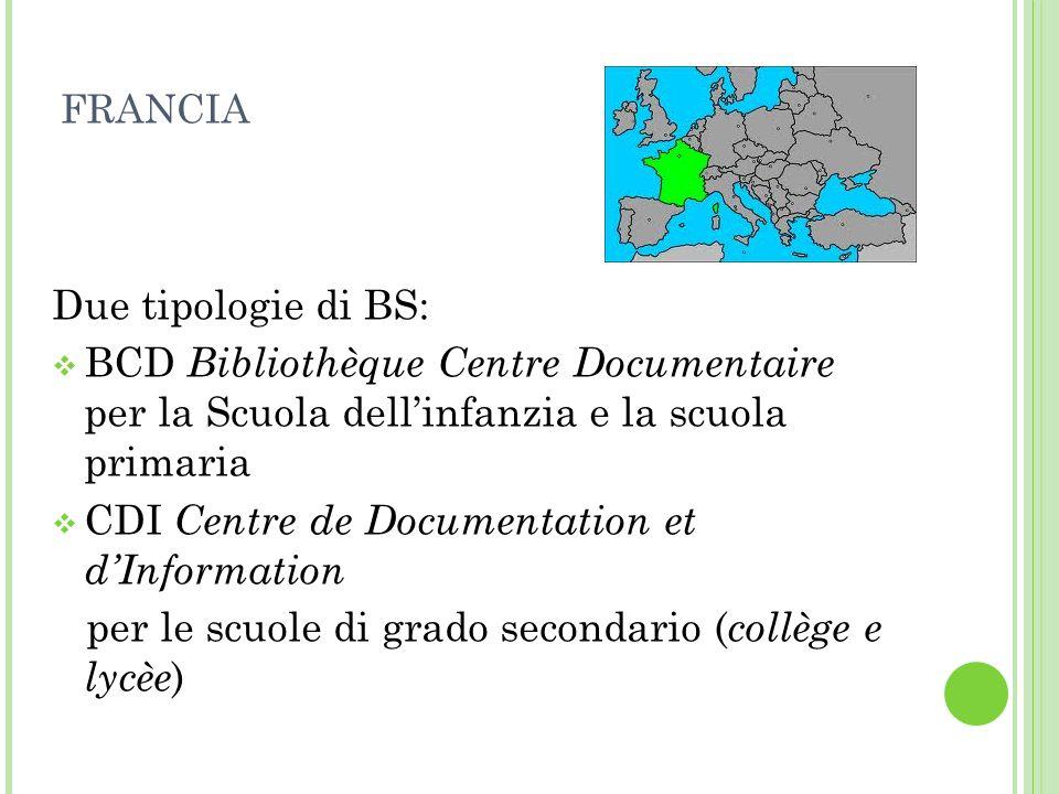 FRANCIA Due tipologie di BS: BCD Bibliothèque Centre Documentaire per la Scuola dellinfanzia e la scuola primaria CDI Centre de Documentation et dInfo