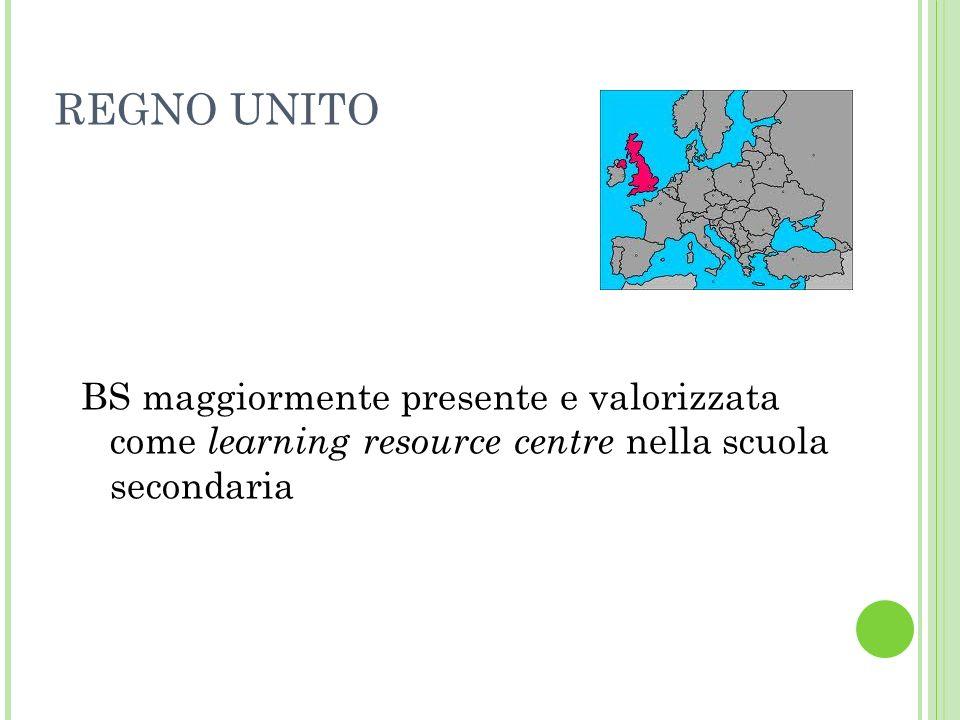 REGNO UNITO BS maggiormente presente e valorizzata come learning resource centre nella scuola secondaria