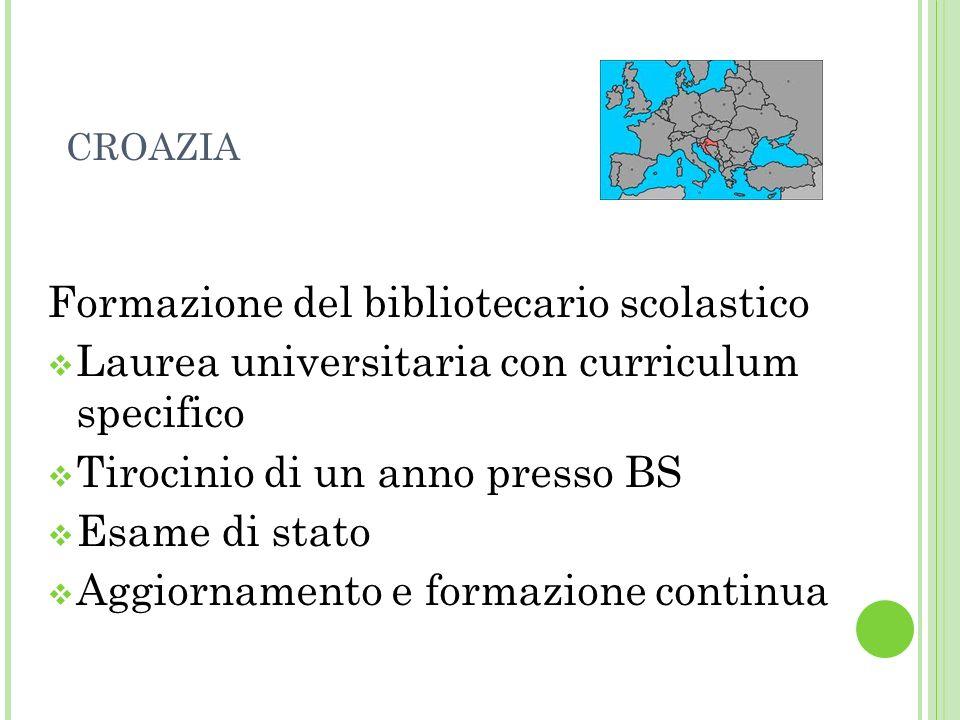 CROAZIA Formazione del bibliotecario scolastico Laurea universitaria con curriculum specifico Tirocinio di un anno presso BS Esame di stato Aggiorname