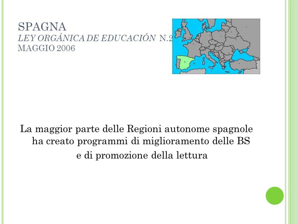 SPAGNA LEY ORGÁNICA DE EDUCACIÓN N.2 MAGGIO 2006 La maggior parte delle Regioni autonome spagnole ha creato programmi di miglioramento delle BS e di p