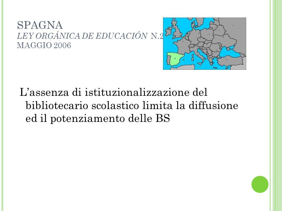 SPAGNA LEY ORGÁNICA DE EDUCACIÓN N.2 MAGGIO 2006 Lassenza di istituzionalizzazione del bibliotecario scolastico limita la diffusione ed il potenziamen