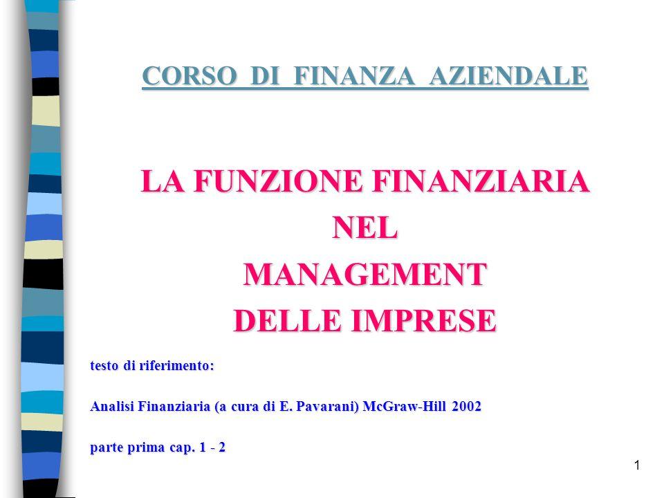1 CORSO DI FINANZA AZIENDALE LA FUNZIONE FINANZIARIA NELMANAGEMENT DELLE IMPRESE testo di riferimento: Analisi Finanziaria (a cura di E. Pavarani) McG
