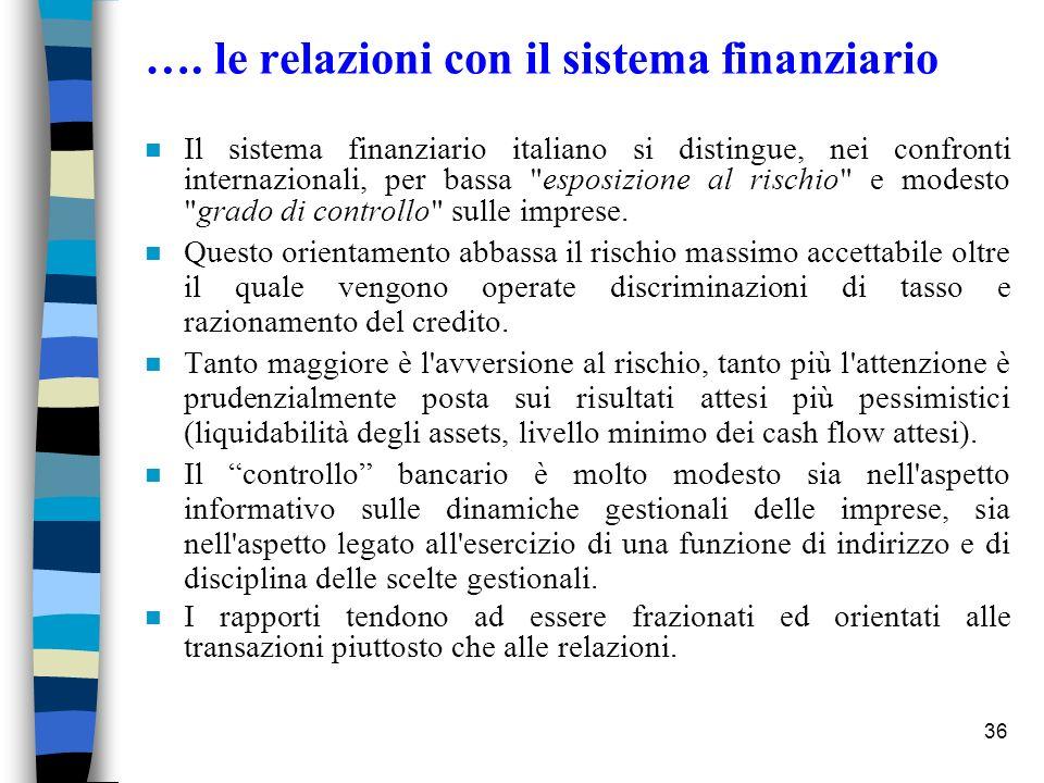 36 …. le relazioni con il sistema finanziario n Il sistema finanziario italiano si distingue, nei confronti internazionali, per bassa