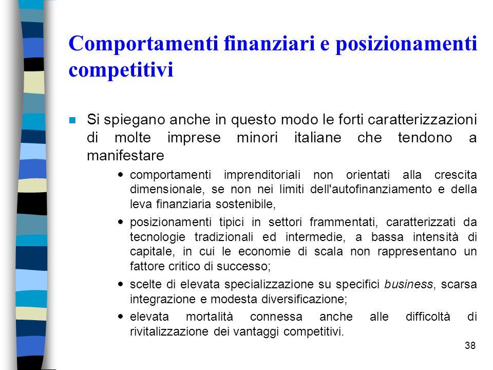 38 Comportamenti finanziari e posizionamenti competitivi n Si spiegano anche in questo modo le forti caratterizzazioni di molte imprese minori italian