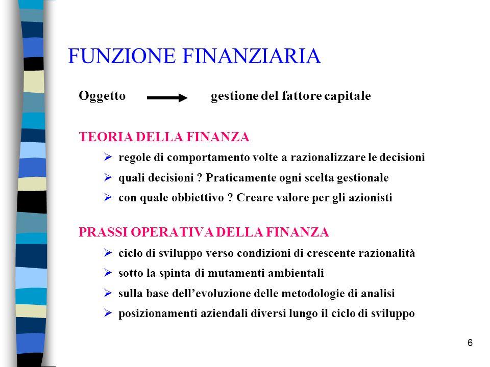 6 FUNZIONE FINANZIARIA Oggetto gestione del fattore capitale TEORIA DELLA FINANZA regole di comportamento volte a razionalizzare le decisioni quali de