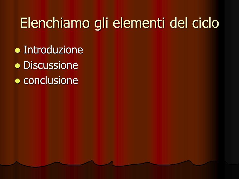 Elenchiamo gli elementi del ciclo Introduzione Introduzione Discussione Discussione conclusione conclusione