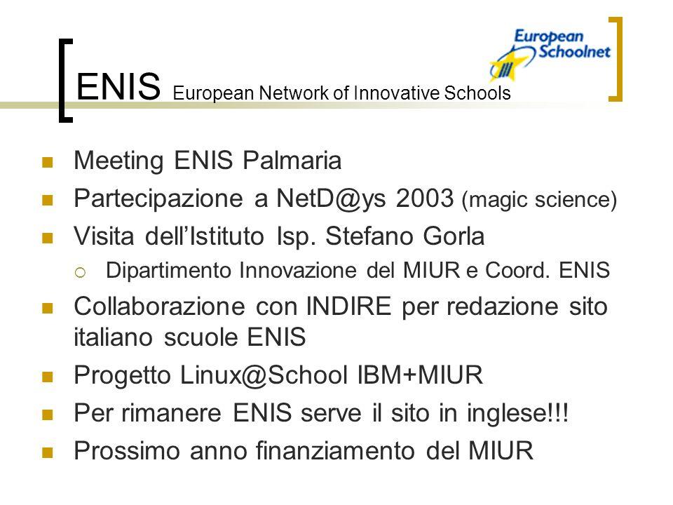 ENIS European Network of Innovative Schools Meeting ENIS Palmaria Partecipazione a NetD@ys 2003 (magic science) Visita dellIstituto Isp.
