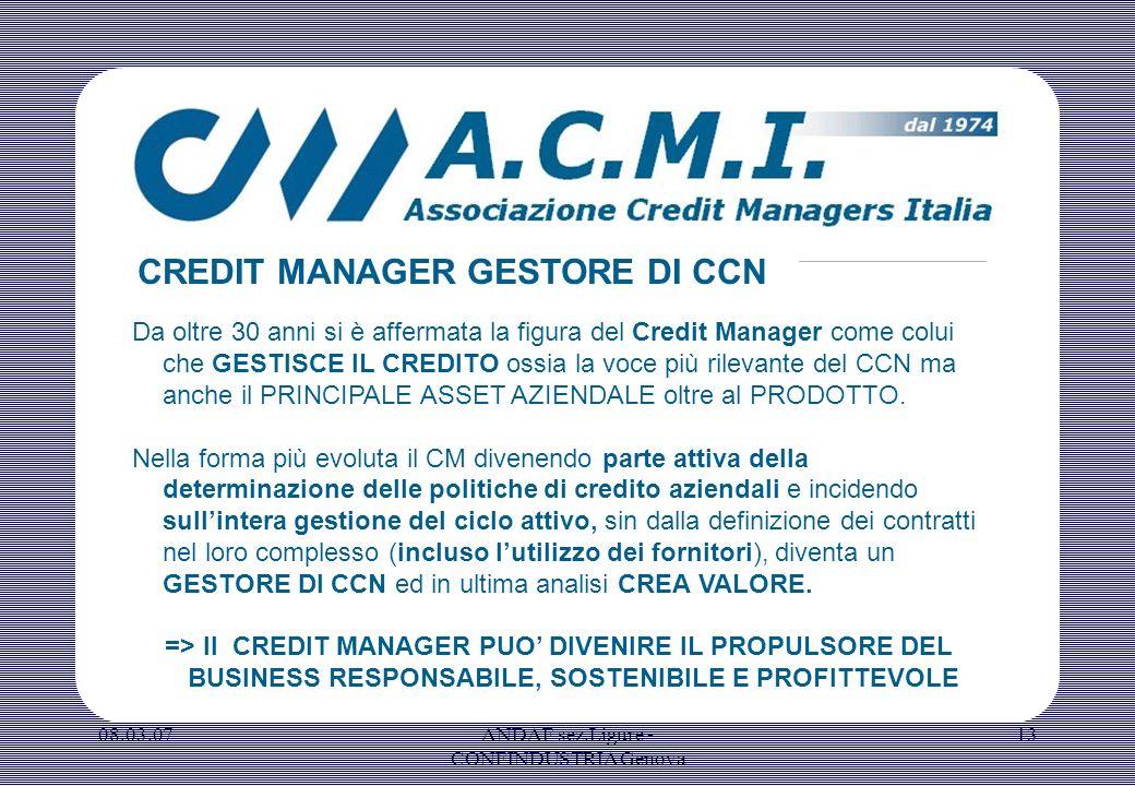 08.03.07ANDAF sez.Ligure - CONFINDUSTRIA Genova 13 Da oltre 30 anni si è affermata la figura del Credit Manager come colui che GESTISCE IL CREDITO oss