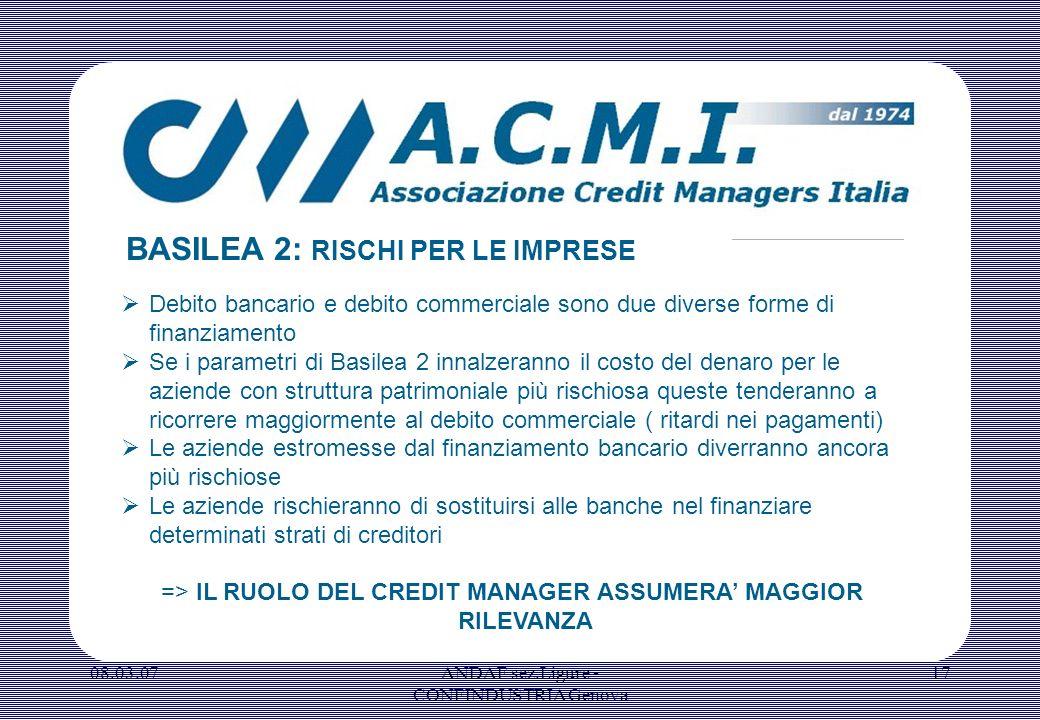08.03.07ANDAF sez.Ligure - CONFINDUSTRIA Genova 17 Debito bancario e debito commerciale sono due diverse forme di finanziamento Se i parametri di Basi