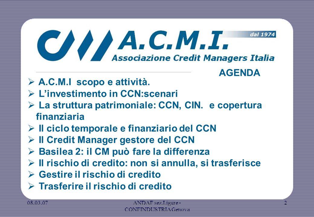 08.03.07ANDAF sez.Ligure - CONFINDUSTRIA Genova 2 A.C.M.I scopo e attività. Linvestimento in CCN:scenari La struttura patrimoniale: CCN, CIN. e copert