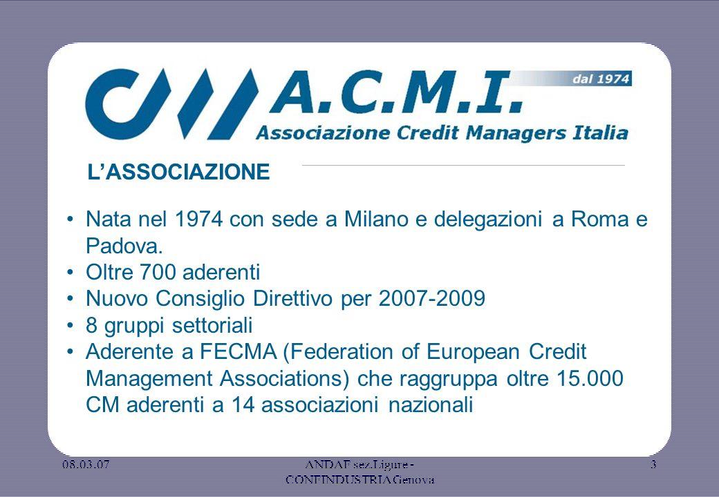 08.03.07ANDAF sez.Ligure - CONFINDUSTRIA Genova 3 Nata nel 1974 con sede a Milano e delegazioni a Roma e Padova. Oltre 700 aderenti Nuovo Consiglio Di