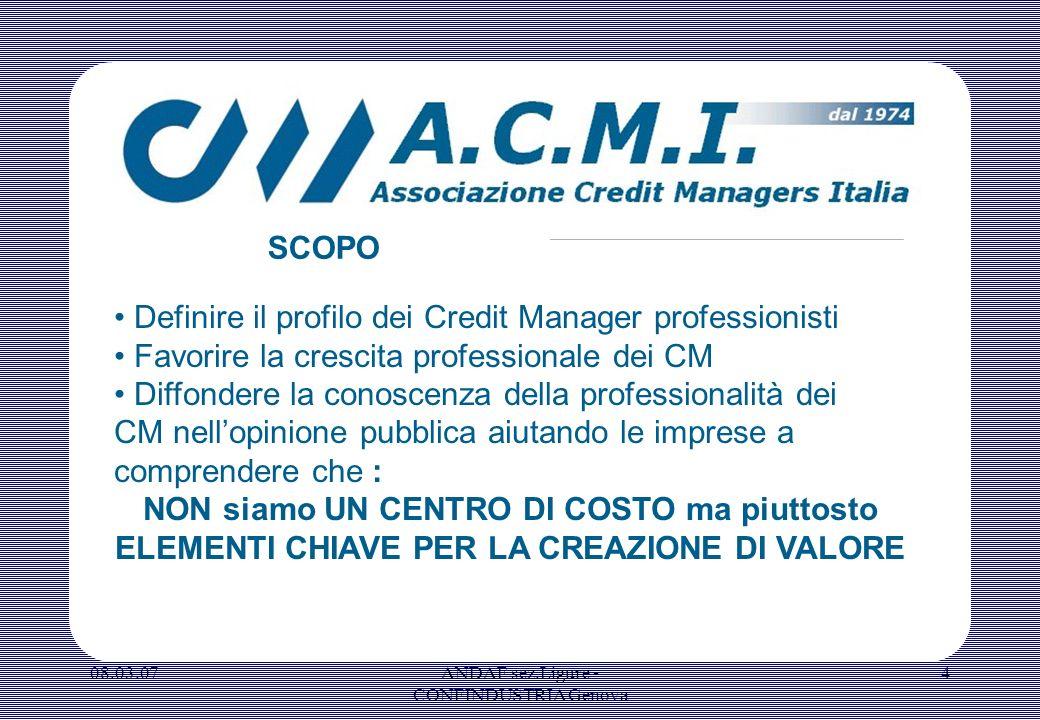 08.03.07ANDAF sez.Ligure - CONFINDUSTRIA Genova 4 Definire il profilo dei Credit Manager professionisti Favorire la crescita professionale dei CM Diff