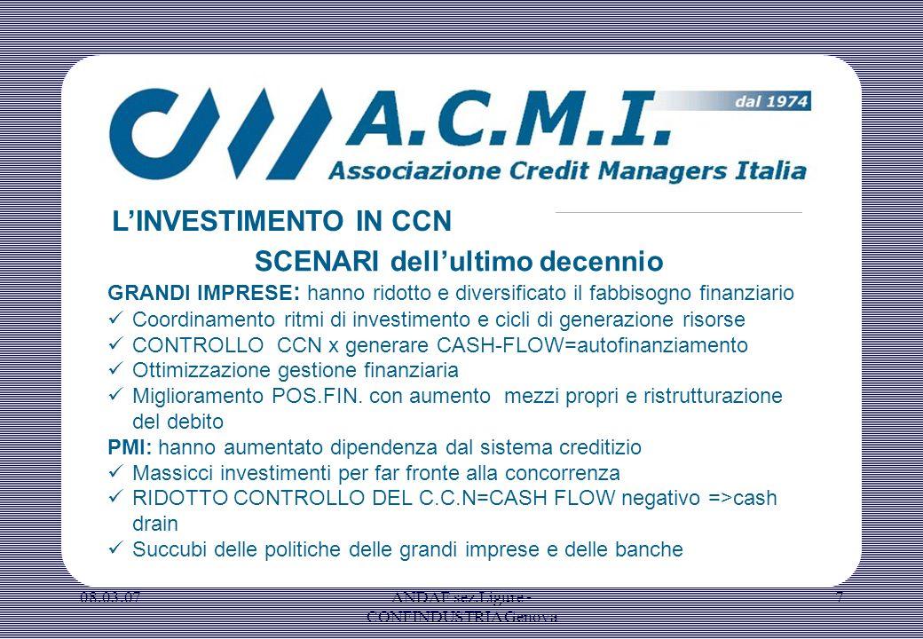 08.03.07ANDAF sez.Ligure - CONFINDUSTRIA Genova 7 SCENARI dellultimo decennio GRANDI IMPRESE : hanno ridotto e diversificato il fabbisogno finanziario