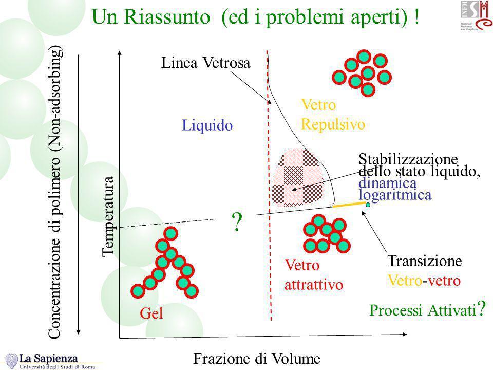 Frazione di Volume Temperatura Liquido Vetro Repulsivo Vetro attrattivo Gel ? Transizione Vetro-vetro Stabilizzazione dello stato liquido, dinamica lo
