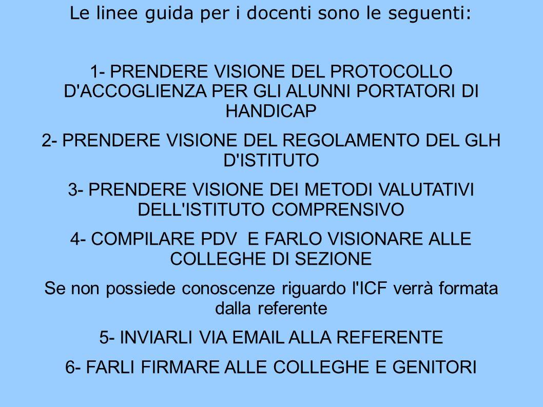 Le linee guida per i docenti sono le seguenti: 1- PRENDERE VISIONE DEL PROTOCOLLO D ACCOGLIENZA PER GLI ALUNNI PORTATORI DI HANDICAP 2- PRENDERE VISIONE DEL REGOLAMENTO DEL GLH D ISTITUTO 3- PRENDERE VISIONE DEI METODI VALUTATIVI DELL ISTITUTO COMPRENSIVO 4- COMPILARE PDV E FARLO VISIONARE ALLE COLLEGHE DI SEZIONE Se non possiede conoscenze riguardo l ICF verrà formata dalla referente 5- INVIARLI VIA EMAIL ALLA REFERENTE 6- FARLI FIRMARE ALLE COLLEGHE E GENITORI