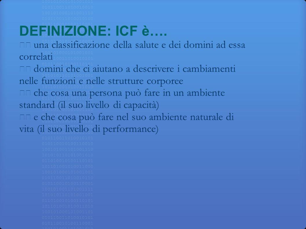 DEFINIZIONE: ICF è…. una classificazione della salute e dei domini ad essa correlati domini che ci aiutano a descrivere i cambiamenti nelle funzioni e