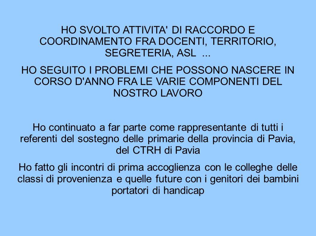 HO SVOLTO ATTIVITA DI RACCORDO E COORDINAMENTO FRA DOCENTI, TERRITORIO, SEGRETERIA, ASL...