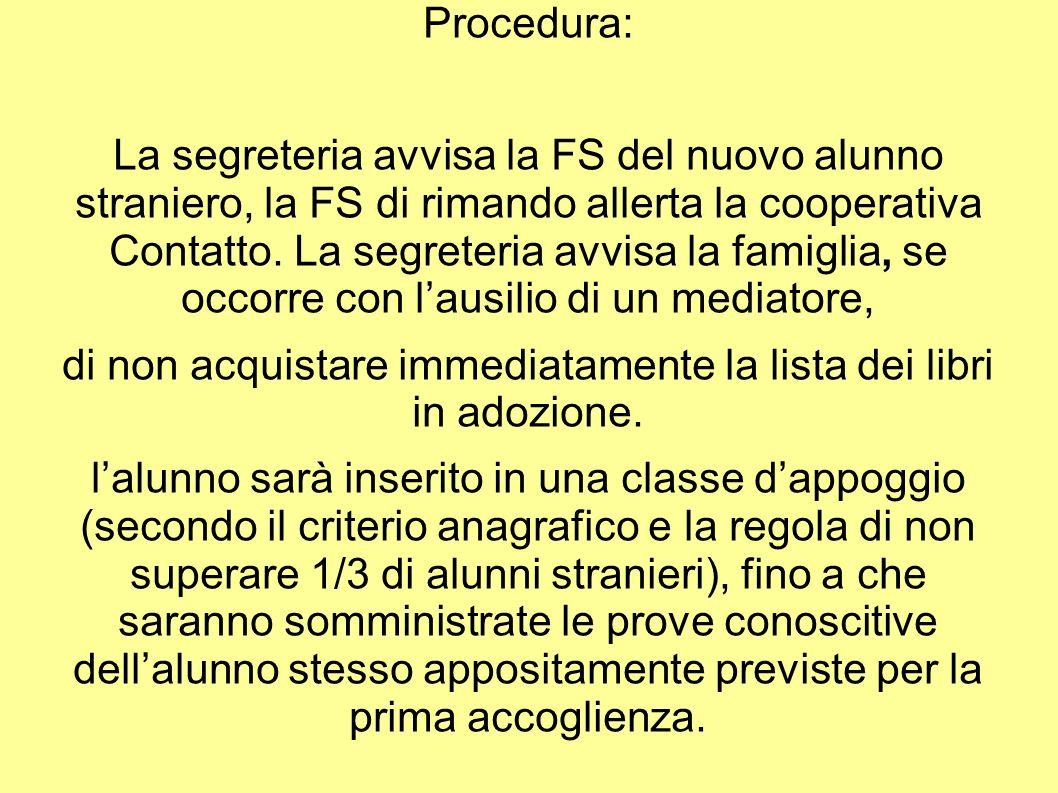 Procedura: La segreteria avvisa la FS del nuovo alunno straniero, la FS di rimando allerta la cooperativa Contatto. La segreteria avvisa la famiglia,