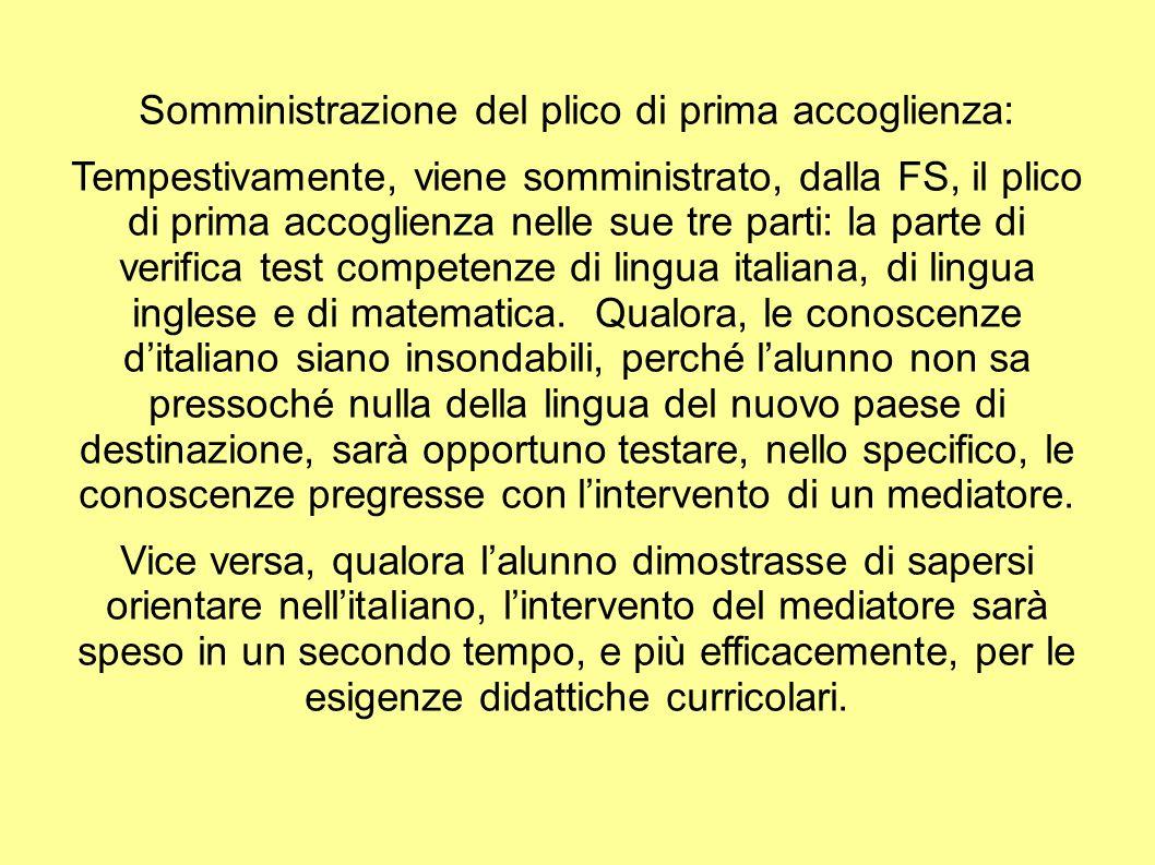 Somministrazione del plico di prima accoglienza: Tempestivamente, viene somministrato, dalla FS, il plico di prima accoglienza nelle sue tre parti: la parte di verifica test competenze di lingua italiana, di lingua inglese e di matematica.