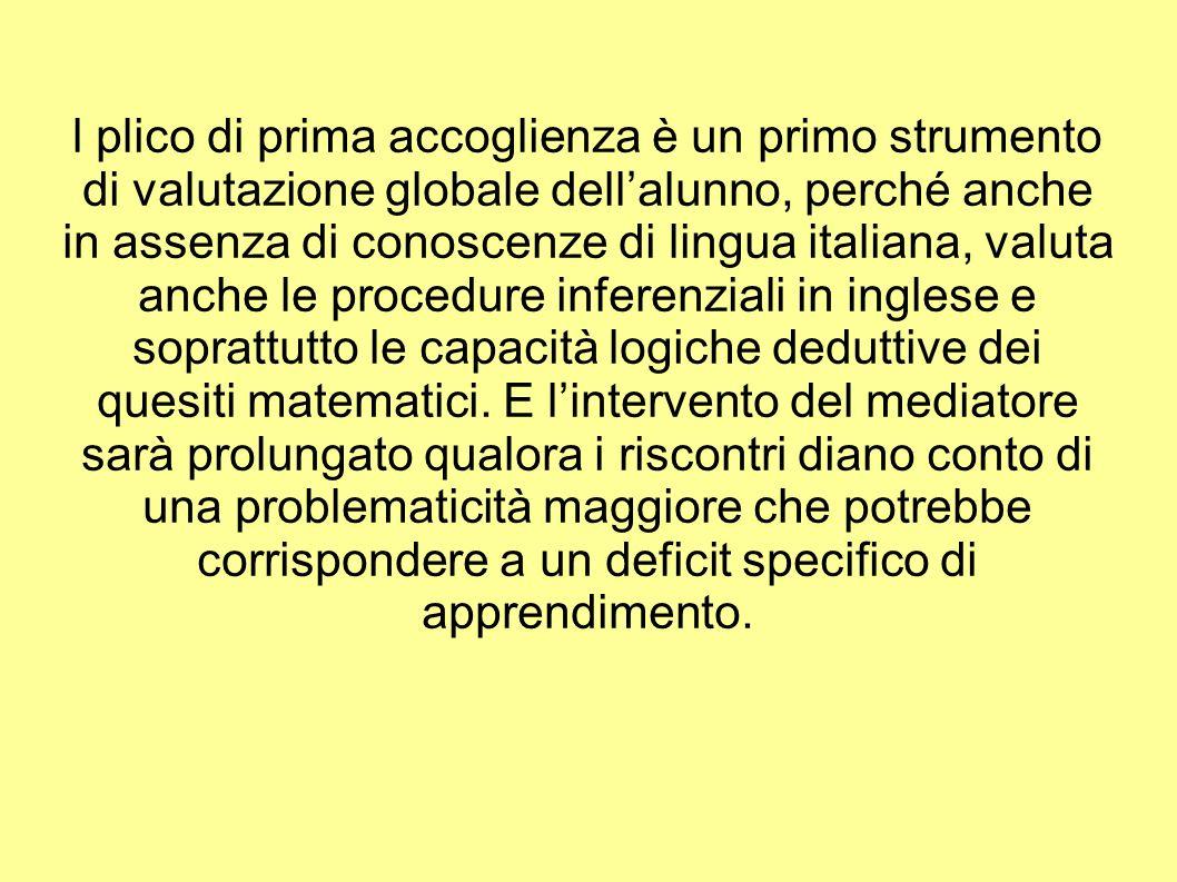 l plico di prima accoglienza è un primo strumento di valutazione globale dellalunno, perché anche in assenza di conoscenze di lingua italiana, valuta anche le procedure inferenziali in inglese e soprattutto le capacità logiche deduttive dei quesiti matematici.