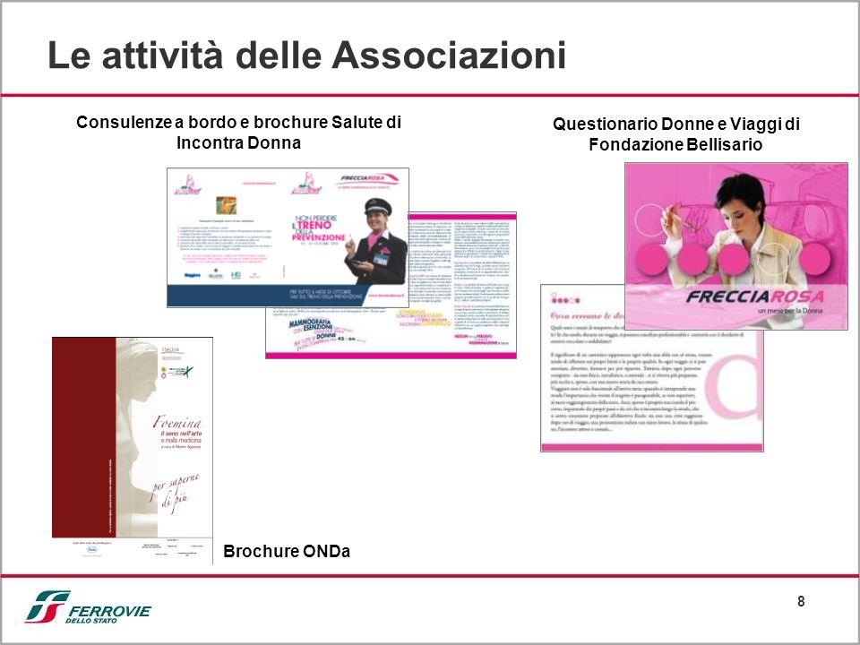 8 Le attività delle Associazioni Consulenze a bordo e brochure Salute di Incontra Donna Questionario Donne e Viaggi di Fondazione Bellisario Brochure ONDa